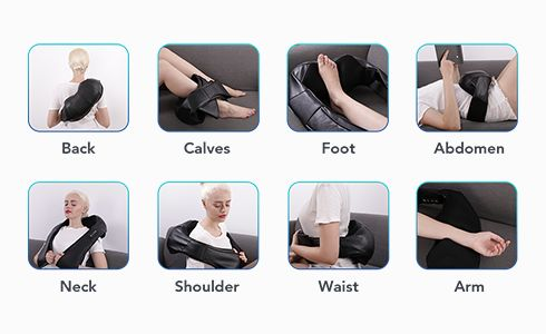 Back Massager Massager Handheld for Back Neck Shoulder Feet Calf Leg Body - 6 Interchangeable Nodes, 6 Speeds & 6 Modes, Portable Cordless Electric Deep Tissue Massager Pain Relief Car Home Office Use