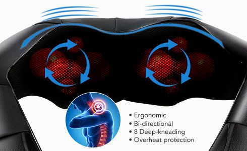 Built in a Bi-directional movement control to mimic the motion of in-person massage experience. This 3D shiatsu massager will auto-reverse each minute for better distribution of massage effects.