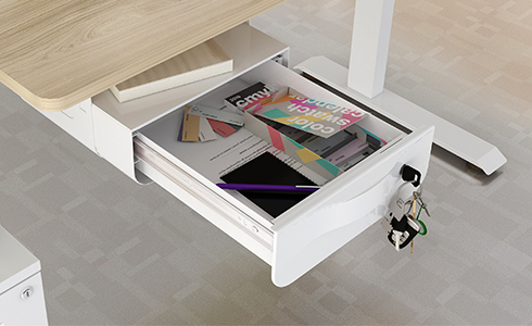 Make your workspace clean and tidy to improve work efficiency and eliminate stress.   The FlexiSpot Under Desk Draw product easily adds storage space to your standing desk with the convenience of a Sliding Under-Desk Drawer. It is placed in the bottom of the desktop without taking up the desktop space. It's spacious enough to hold all your office accessories and stow personal items like keys, a cell phone, pens, and notebooks.